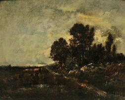 Attributed to Narcisse-Virgil Diaz de la Pena (French, 1807-1876)      Landscape Study with Figure and Cows