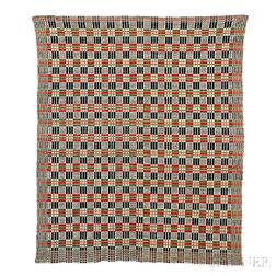 Overshot Cotton and Wool Woven Coverlet