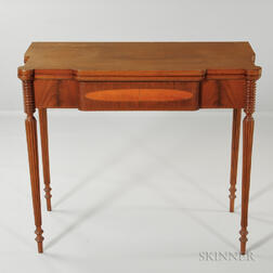 Carved and Inlaid Mahogany Card Table
