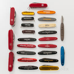 Twenty Promotional Watch Brand Penknives and Four Swiss Army Pocketknives