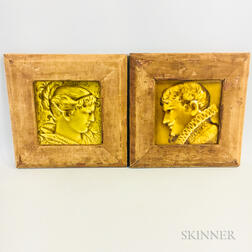 Two Framed Trenton Tile Co. Portrait Tiles