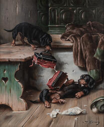 Johann Hartung (German, 1836-1918)      Two Paintings of Dachshunds at Play