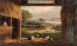 Frank Henry Shapleigh (American, 1842-1906)      View Through the Barn Door to the Sea
