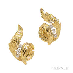 18kt Gold and Diamond Leaf Earrings, McTeigue