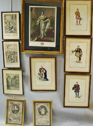 Ten Framed Engravings of Mostly Royal Court Figures