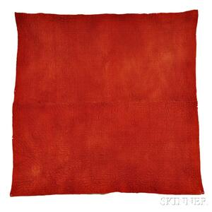 Red Linsey Woolsey Quilted Coverlet