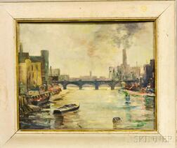 Attributed to Helen Pierson (American, d. 1998)      City Waterway and Bridge