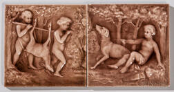 American Encaustic Tile Co. Two-part Art Pottery Tile Panel of Putti Hunting