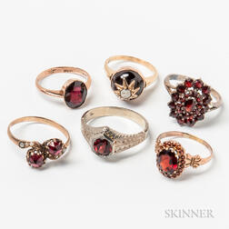 Five Gold and Garnet Rings