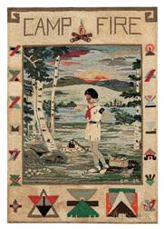"""Camp Fire"" Pictorial Hooked Rug"