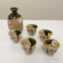 Set of an Oribe-style Wine Bottle and Five Cups