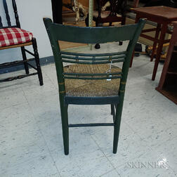 Set of Six Green-painted and Stencil-decorated Rush-seat Side Chairs