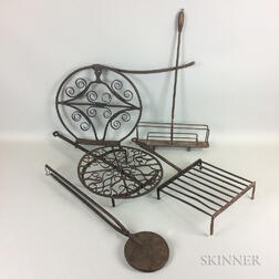Small Group of Wrought Iron Roasters, Toasters, and a Waffle Iron.     Estimate $300-500