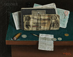 Charles Alfred Meurer (American, 1865-1955)      Trompe l'Oeil Still Life with Currency, Newspaper Clipping, and Lit Cigar