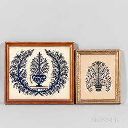 Two Cutwork Pictures of Potted Flowers