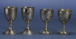Two Pairs of Coin Silver Goblets