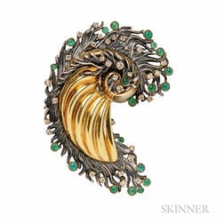 Blackened Silver, 18kt Gold, Emerald, and Diamond Brooch, Attributed to Marilyn Cooperman