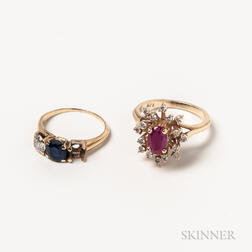 Two 14kt Gold Gem-set Rings