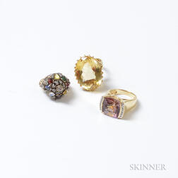 18kt Gold and Citrine Ring and Two 14kt Gold Rings