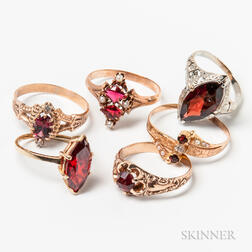 Six Gold and Garnet Rings
