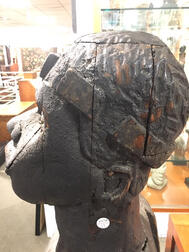 Monumental Carved and Black-painted Bust of an African American Man