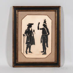 Silhouette Picture of William Penn Making a Treaty with an Indian
