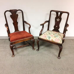 Two Early Georgian Elmwood Open Armchairs