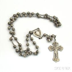 Mexican or South American Silver Filigree Rosary