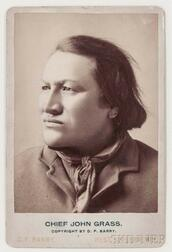 """Framed Cabinet Card Photograph of """"Chief John Grass"""" by D.F. Barry"""