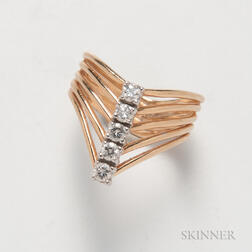 14kt Gold and Diamond Stacked Ring