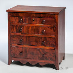 Miniature Mahogany Veneer Chest of Four Drawers
