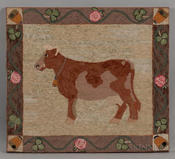 Hooked Rug with Cow