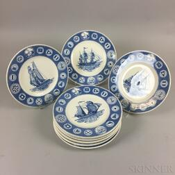 Set of Twelve Wedgwood Dinner Plates Commemorating the 150th Anniversary of the Peabody Museums
