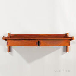 Teak Wall Mount Shelf and Drawers