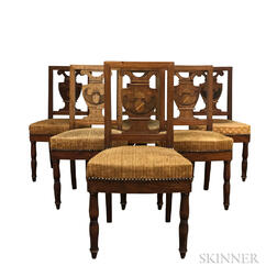 Set of Six Neoclassical Eagle-inlaid Mahogany Chairs