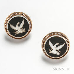 Pair of Antique 14kt Gold and Intaglio Eagle Cuff Links