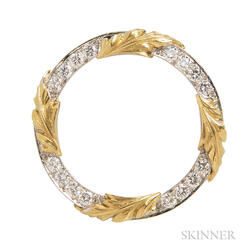Platinum and 18kt Gold and Diamond Circle Brooch, McTeigue