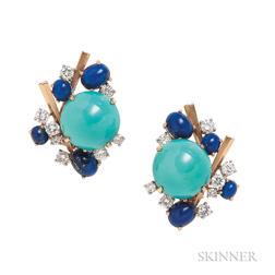 18kt Gold, Turquoise, Lapis, and Diamond Earclips, Marianne Ostier