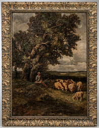 Continental School, 19th Century    Shepherd Resting with His Flock