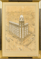 Frederick G. Walker (American, 19th/20th Century)      Architectural Watercolor Rendering