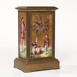 French Hand-painted Porcelain Panel Mantel Clock