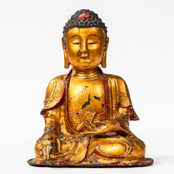 Red/Gold-lacquered Bronze Figure of Buddha