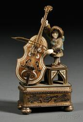 Continental Enameled .900 Silver and Bone Musician-form Whimsy Box