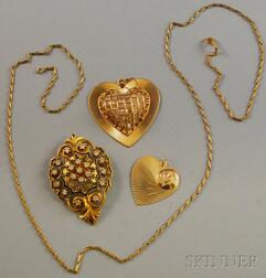 Two Gold Heart Pendants and a Gold and Diamond Pendant