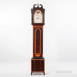 Bird's-eye Maple and Cherry Federal Tall Clock.