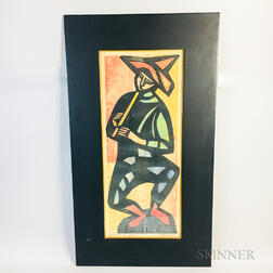 Framed Irving Amen (American, 1918-2011) Woodcut Flute Player
