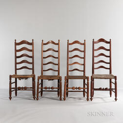 Assembled Set of Four Maple Ladder-back Side Chairs