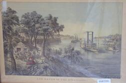 """Two Framed Currier & Ives Large Folio Hand-colored Lithographs,      """"High Water"""" in the Mississippi,"""
