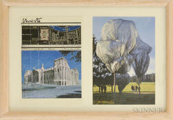 After Christo (American, b. 1935) and Jeanne-Claude (French, 1935-2009),      Two Postcards: Wrapped Reichstag  , Berlin