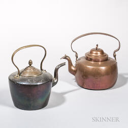 Two Copper Hot Water Kettles